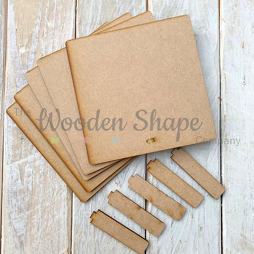 MDF Laser Cut Craft 20cm Square Plaques with Stand 5 Pack