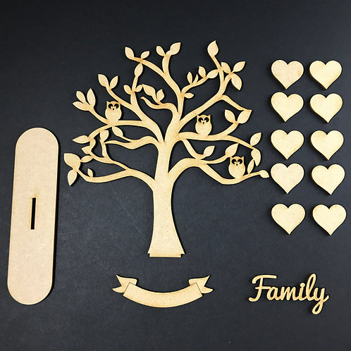 MDF Wooden Tree Code Owl Stand Kit