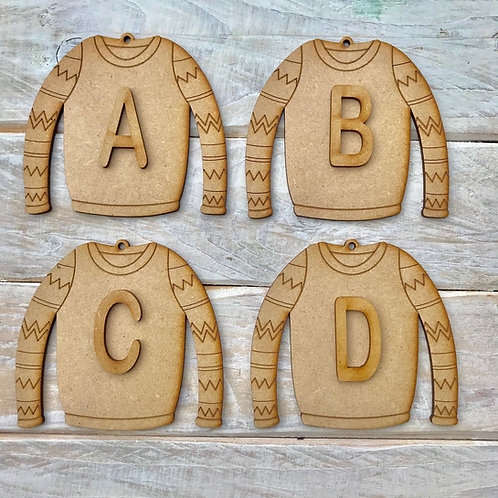 MDF Jumper Bauble Initial
