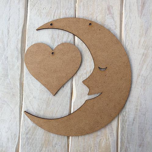 MDF Moon & Heart Shape Plaque Blank
