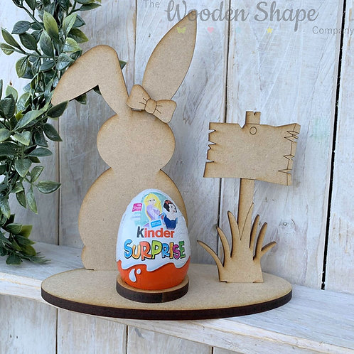 MDF Easter Egg Holder Stand Creme/Kinder Egg Bunny Front