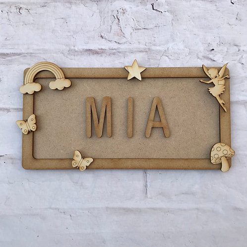 Fairy Theme Room Sign Small (up to 6 letters)