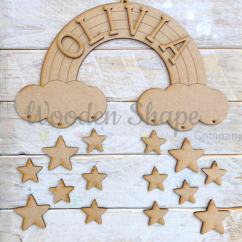 MDF Laser Cut Craft Kit DIY Rainbow Sign with Name and Stars