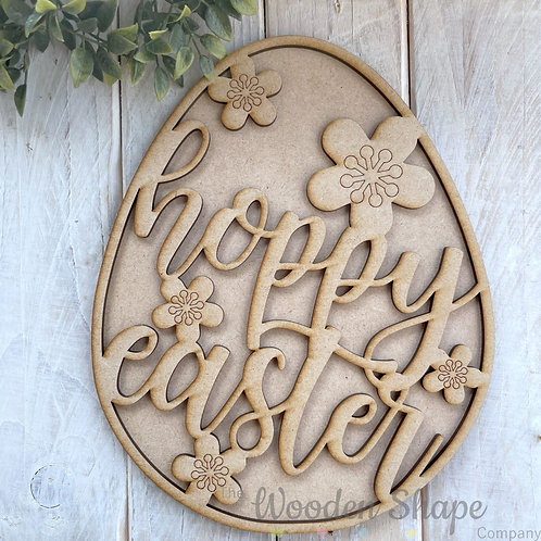 25cm MDF Sign Kit Egg Hoppy Easter