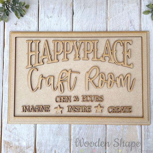 30cm MDF Sign Kit Happy Place Craft Room RP