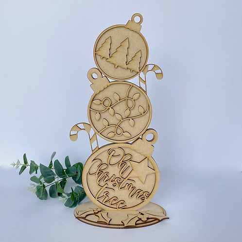 MDF Freestanding Bauble Stack 38cm Oh Christmas Tree