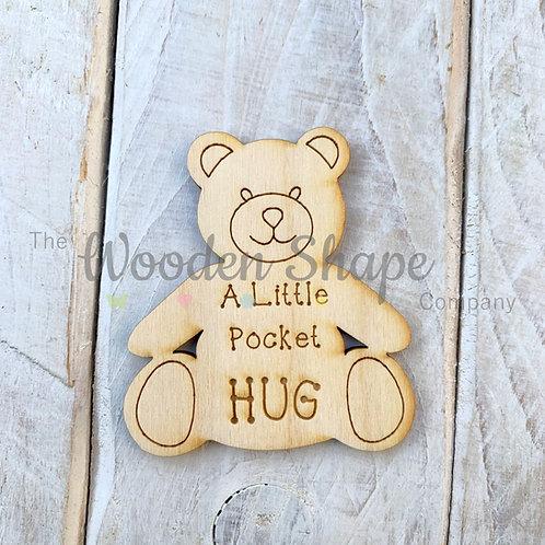 Plywood Engraved Teddy Hug Little Pocket Hug 5 Pack