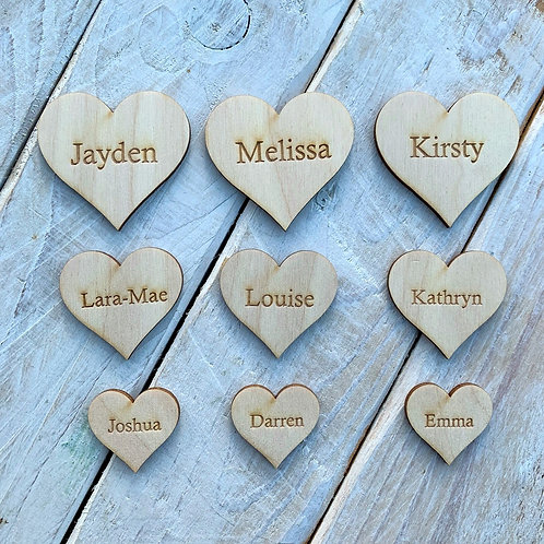 Engraved Wooden Hearts Bold