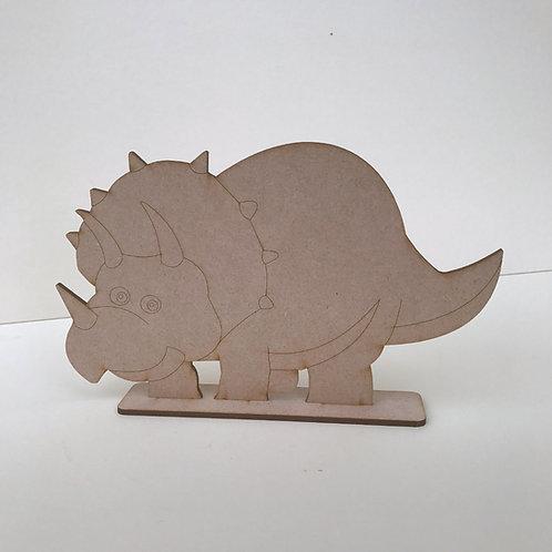 MDF Dinosaur on Stand Triceratops