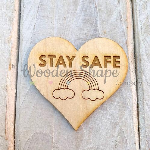 Plywood Engraved Heart Stay Safe Token or Keyring 5 Pack