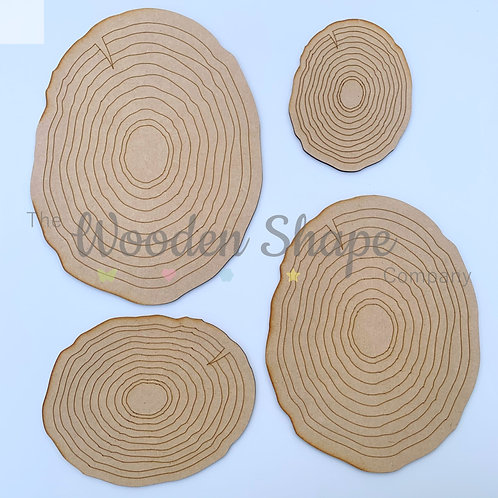 MDF Log Slice Plaque Set of 4