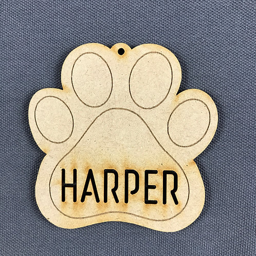 MDF Bauble Paw with Name Added