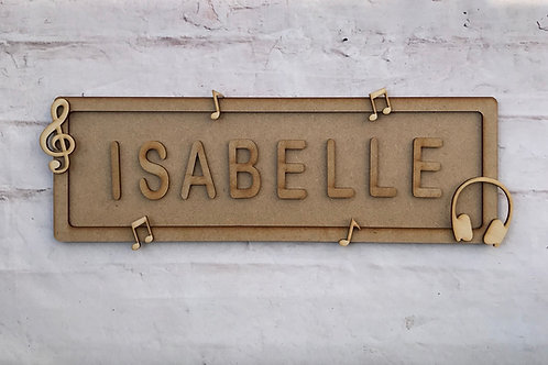 Music Theme Room Sign Large (up to 10 letters)