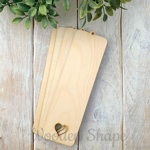 4 Pack Birch Plywood Bookmark Heart