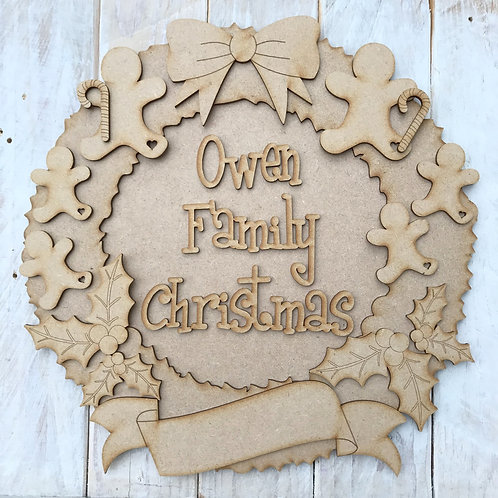 MDF Christmas Wreath Layered Kit Ginger Family