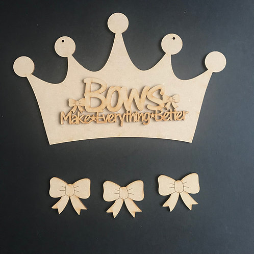 MDF Hair Bow Clip Holder Plaque Crown +Wording