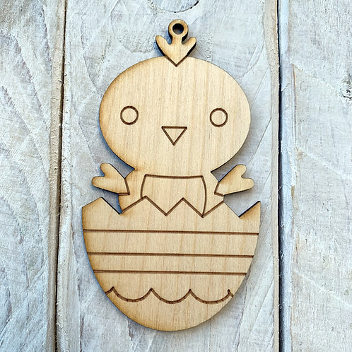 Plywood Easter Chick in Egg 10 Pack
