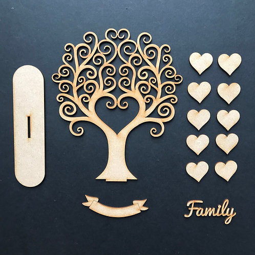 MDF Wooden Tree Code Curly Heart Stand Kit