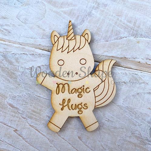 5 Pack Plywood Engraved Unicorn Hug Little Pocket Hug 5 Pack