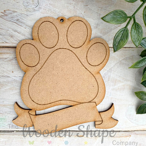 MDF Bauble Paw with Banner