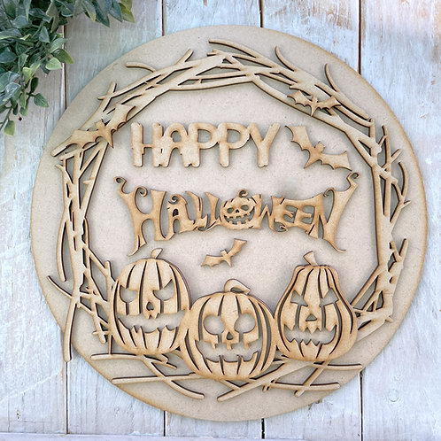 30cm MDF Circle Wreath Happy Halloween Pumpkins CP