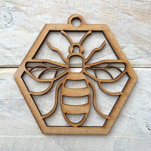 MDF Bauble Hexagon Bee