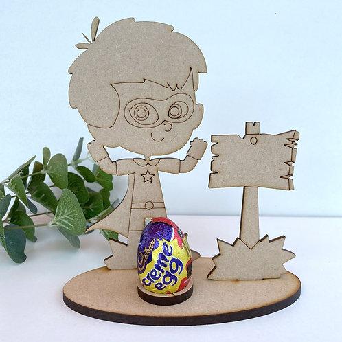 MDF Easter Egg Holder Stand Creme/Kinder Egg Super Boy