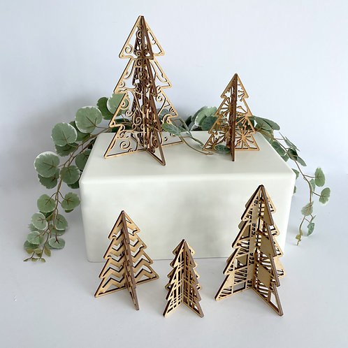 3D MDF Freestanding Christmas Tree Set of 5