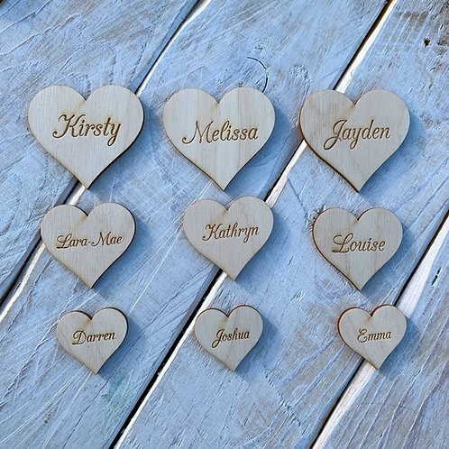 Engraved Wooden Hearts Script