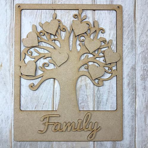 MDF Wooden Tree Code Frame Round