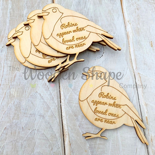 5 Pack Engraved Card Sentiment Robins Appear