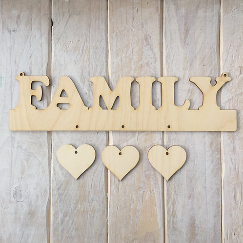 Plywood FAMILY Word Art Plaque with Hanging Hearts