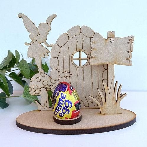 MDF Easter Egg Holder Stand Creme/Kinder Egg Fairy