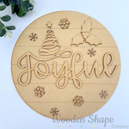 30cm MDF Sign Christmas Joyful CLI