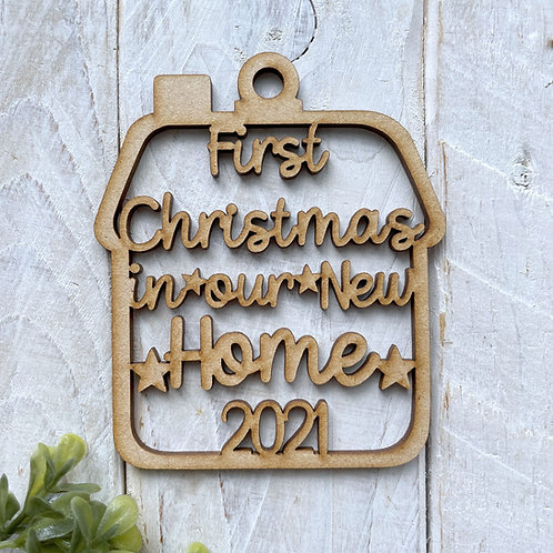 MDF Bauble First Christmas in our New Home 2021