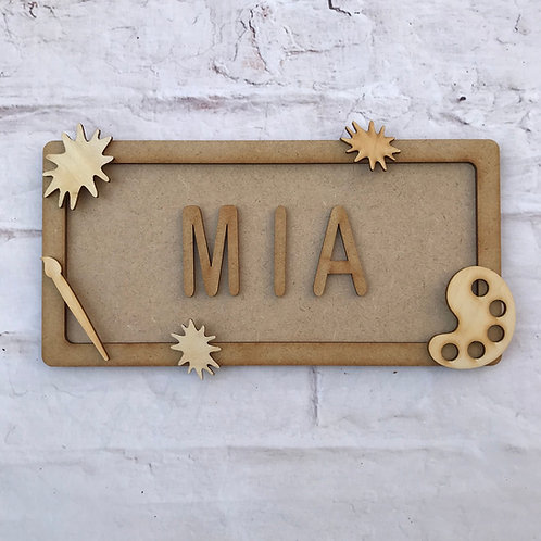 Art Theme Room Sign Small (up to 6 letters)