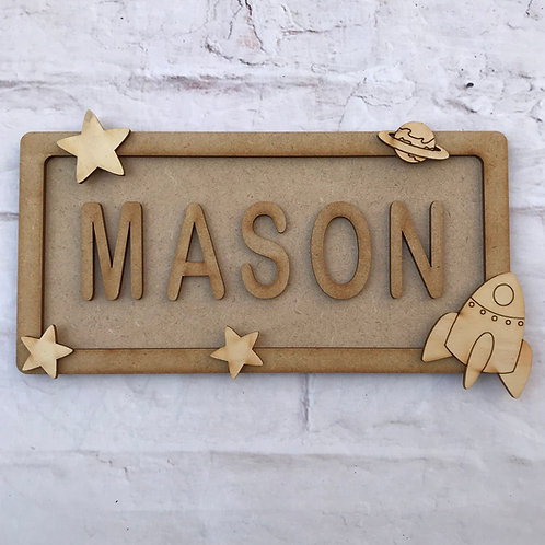Space Theme Room Sign Small (up to 6 letters)