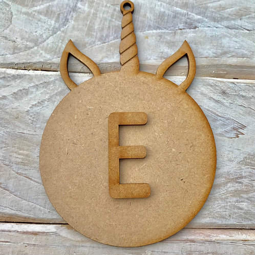 MDF Unicorn Horn Bauble Initial