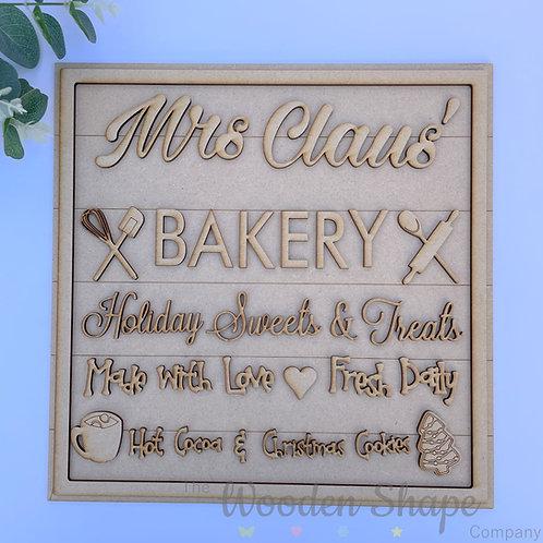 30cm Square MDF Sign Mrs Claus' Bakery SLI