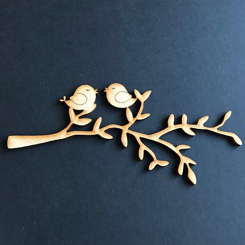 MDF Tree Branch Love Birds B