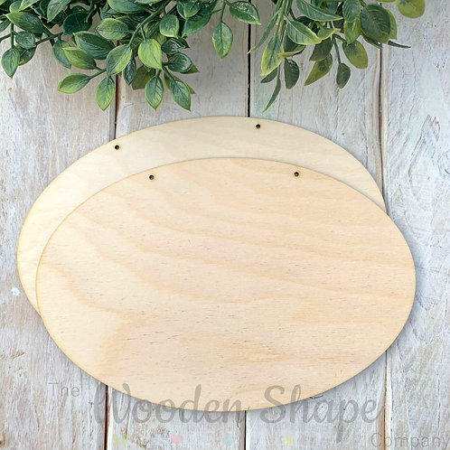 2 Pack Birch Plywood Plaque Oval