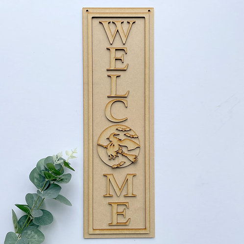 Welcome Porch Sign Halloween Witch 40cm