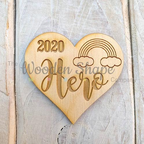 Plywood Engraved Heart 2020 Hero Token or Keyring 5 Pack