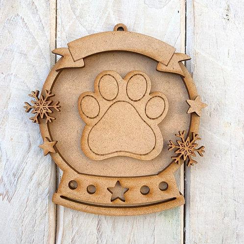 Layered Snow Globe Bauble Dog Paw