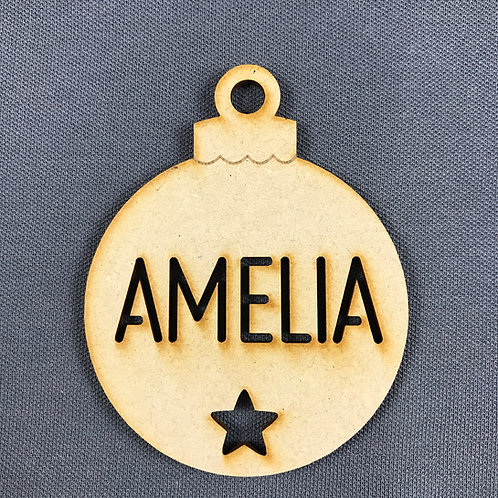 MDF Bauble with Name Cut Out