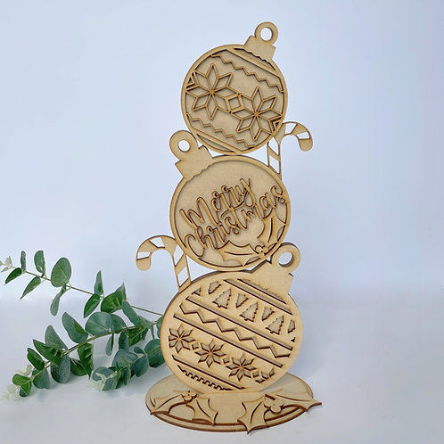 MDF Freestanding Bauble Stack 38cm Merry Christmas