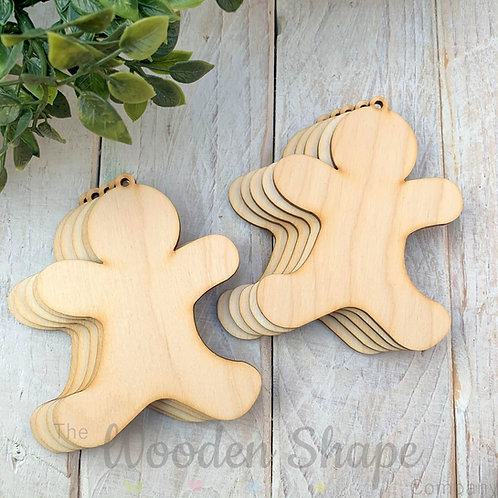 10 Pack Birch Plywood Christmas Tags Gingerbread Boy