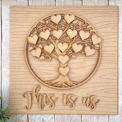 30cm Square Multi Layered MDF Tree Circle This is Us