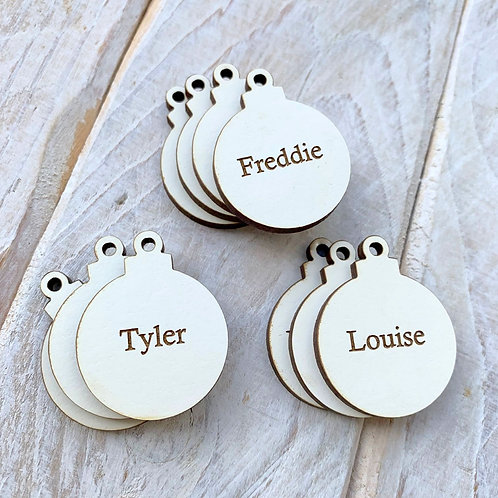Engraved White Christmas Bauble Tags
