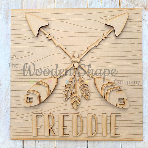 Layered Tribal Boho Arrows Sign with Name